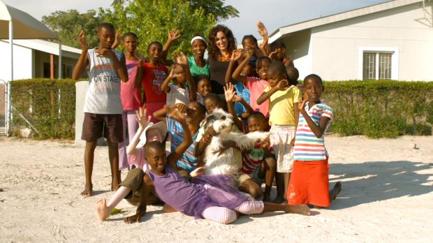 Amanda Martinez with Namibian children
