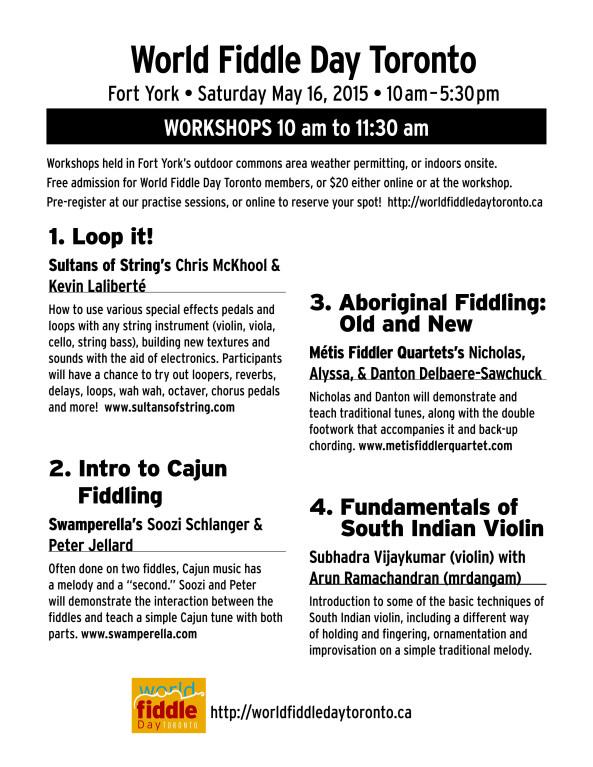 World Fiddle Day Toronto Workshops