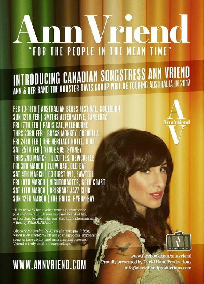 Ann Vriend Australian 2017 Tour Poster