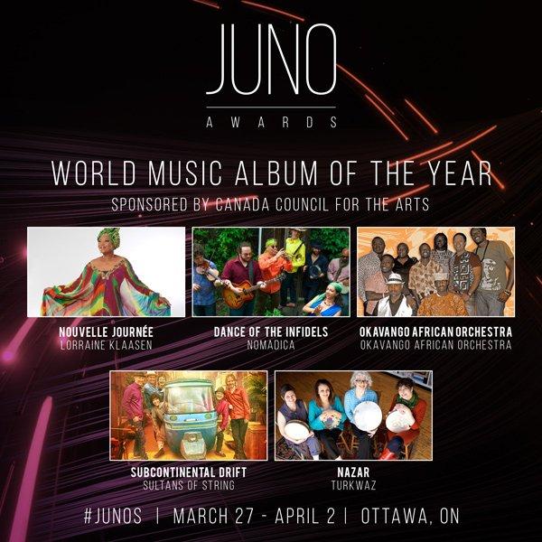 Juno Awards World Music Album of the Year Nominees 2017
