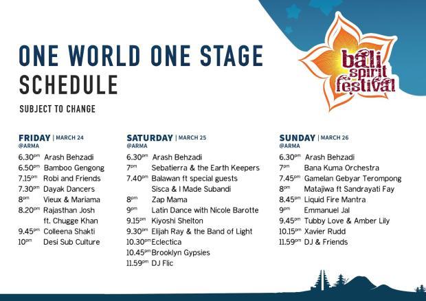 One World One Stage Bali Spirit Festival